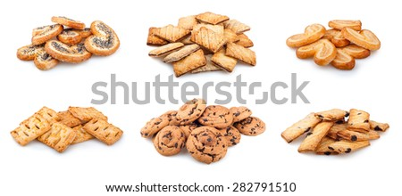 collection of cookies on a white background