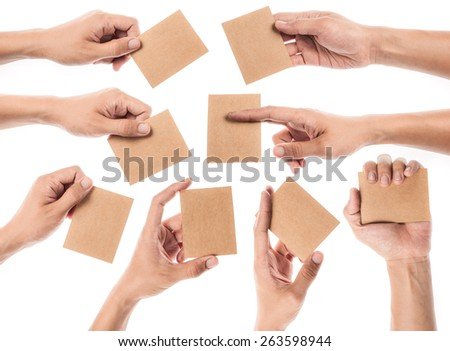 Collection of Credit card female hand holding - stock photo