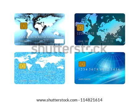 collection of credit cards isolated - stock photo