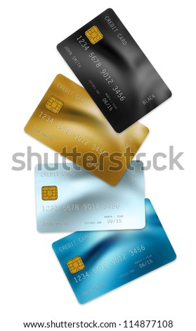 collection of credit cards isolated on white - stock photo