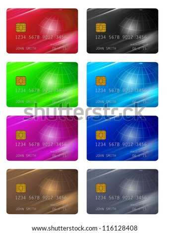 collection of credit cards isolated with clipping path - stock photo