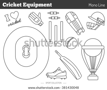 Collection of cricket game equipment pictograms made in modern mono linear style on white background. Professional sport concept and design elements for web sites, mobile and web applications. Raster. - stock photo