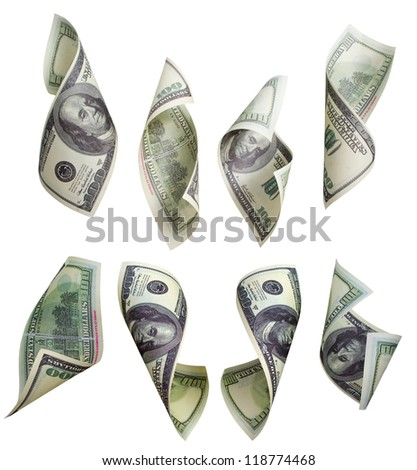 Collection of crumpled banknotes of 100 dollars - stock photo