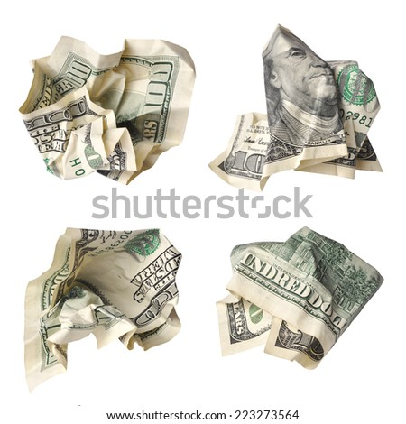 Collection of crushed one hundred dollar bills isolated on white