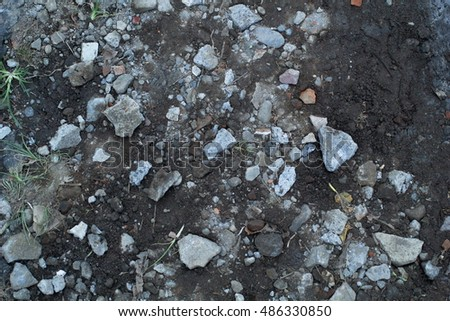 collection of crushed stone and soil