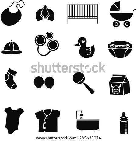 Collection of cute baby icons. - stock photo