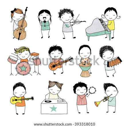 collection of cute doodle kids playing different musical instruments - stock photo
