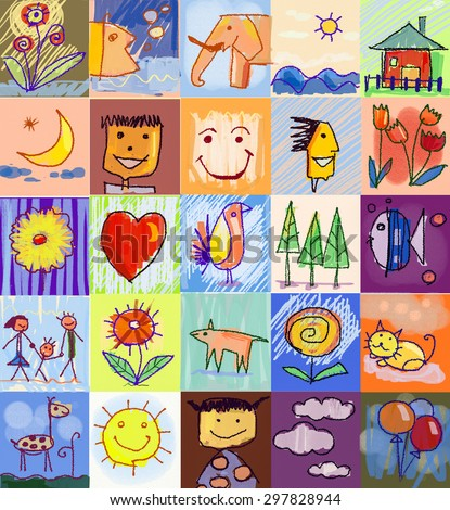 Collection of cute drawings of kids, Children's Drawing Styles. Multicolored symbols set with  human family, animals, nature, objects on colorful background. Happy family concept - stock photo
