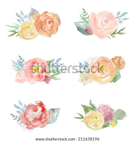 Collection Of Cute Painted Watercolor Flower Bouquets Clip Art On Isolated White Background