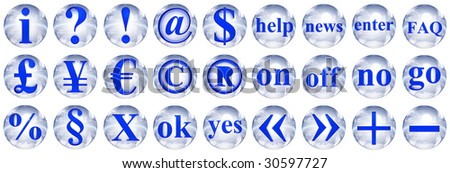 collection of 3d blue and white glass spheres isolated on white background,with 3d symbols for web design buttons.