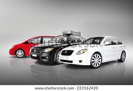 Collection of 3D Cars - stock photo