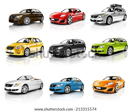 Collection of 3D Cars Isolated - stock photo