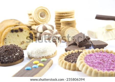 collection of delicious candies, biscuit and Cookies on a white background . - stock photo