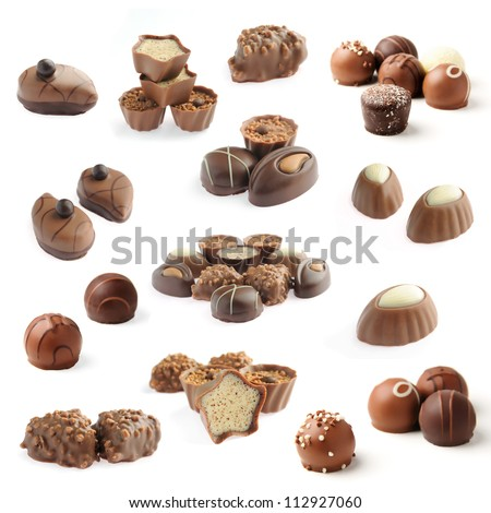 collection of delicious chocolate pralines isolated on white background - stock photo
