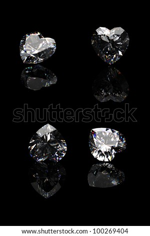 Collection of  diamond.  Background with shape of heart gemstone - stock photo