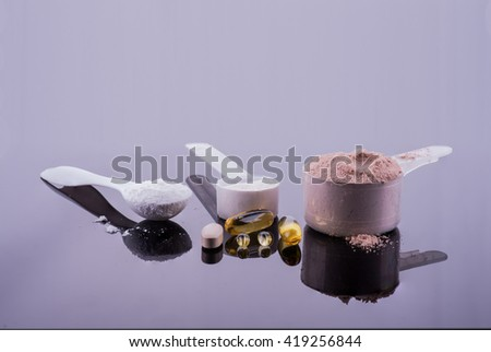 Collection of diet and weight loss supplements - stock photo
