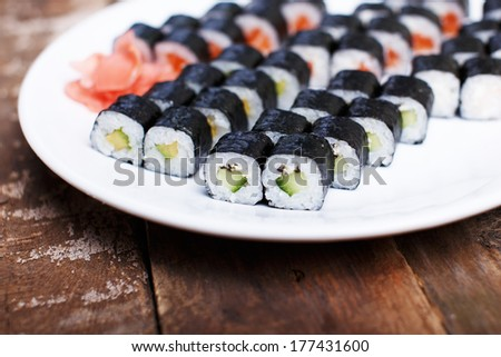 Collection of diet sushi sets - stock photo