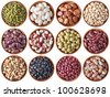 collection of different beans isolated on white background - stock photo