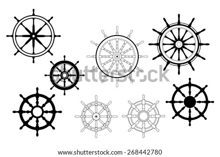 Collection of different black and white designs for nautical ships wheels - stock photo
