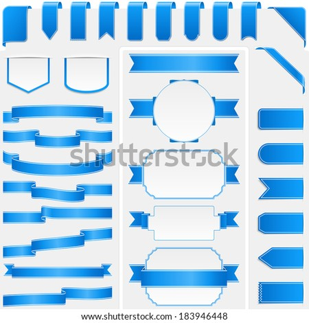 Collection of different blue ribbons and banners - stock photo