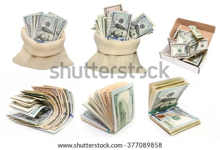 Collection of different dollar bills isolated on white background