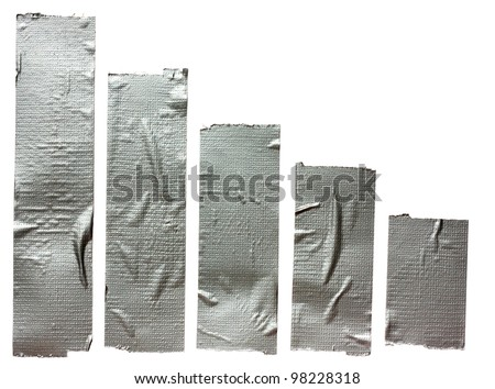 Collection of different duct tape  strips .Adhesive tape isolated on white background - stock photo
