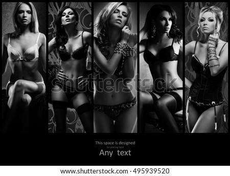 Collection of different fashion models posing in sexy underwear with copy space. Beautiful lingerie concept.