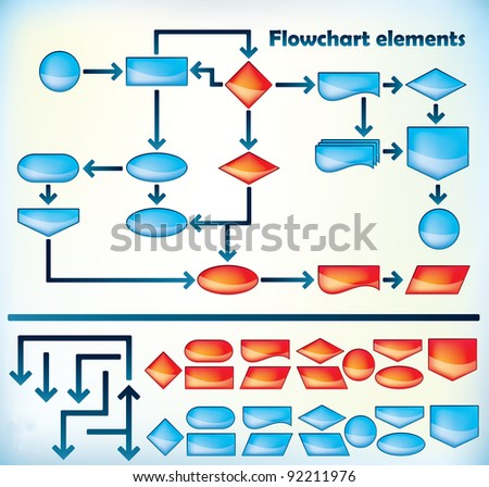 Collection of different flowchart elements - Jpeg version of vector illustration - stock photo