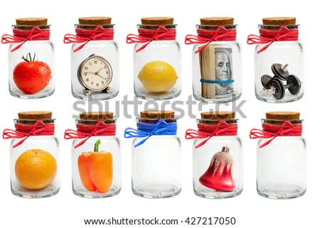 Collection of different glass jars with lids and colored twine isolated on white background - stock photo