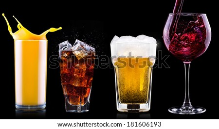 Collection of different images alcohol isolated on a black background