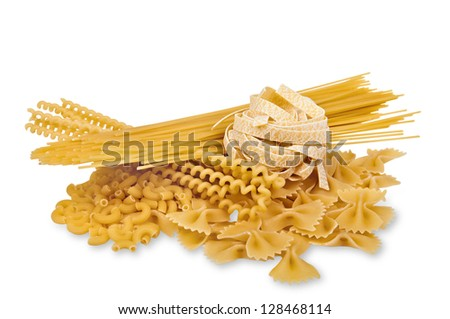Collection of different italian pasta isolated on a white background with soft shadow. The file includes a clipping path. - stock photo