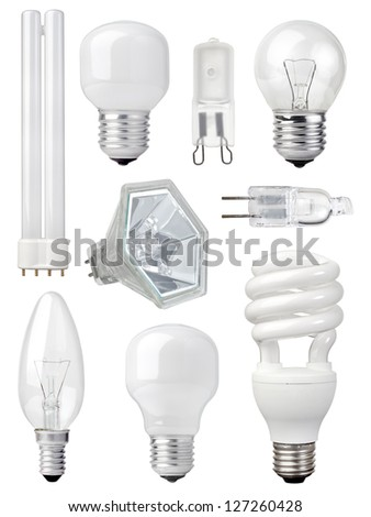 collection of different kind of light bulbs on white background - stock photo
