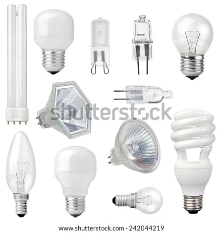 Awesome Collection Of Different Kind Of Light Bulbs On White Background Pictures