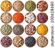 collection of different legumes isolated on white background - stock photo
