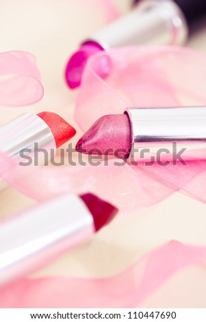 collection of different lipsticks colors - stock photo