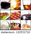 Collection of different meat dishes and alcohol drinks - stock photo