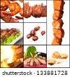 Collection of different meat dishes -  BBQ, pork,beef,salad,satay,sea food,chicken,noodles - stock photo