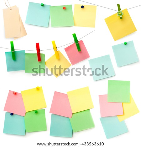 Collection of different paper for notes  isolated on white background - stock photo