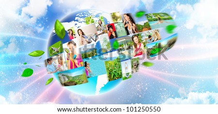 Collection of different people portraits on earth. Global communicating concept - stock photo