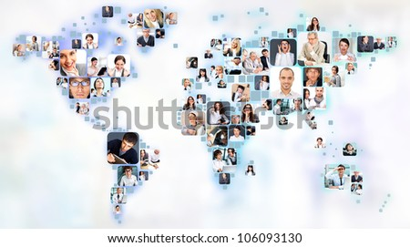 Collection of different people portraits placed as world map shape - stock photo