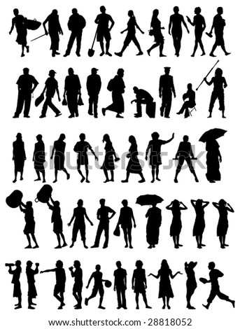 collection of different people vector silhouettes - stock photo