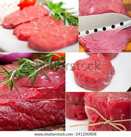 collection of different raw beef cuts collage white frame