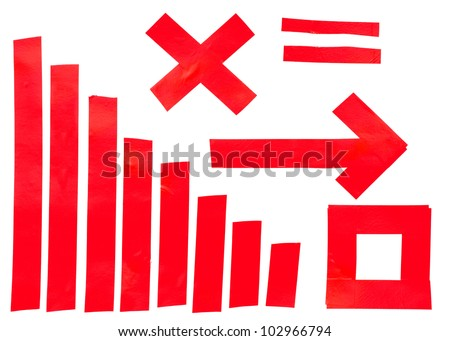 Collection of different red insulating tape  strips .Electrical tape isolated on white background - stock photo