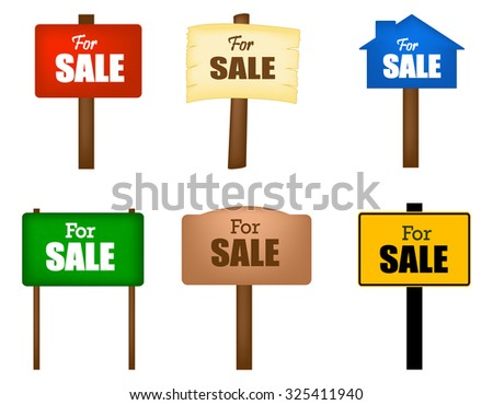 Collection of different shaped sale notice boards isolated on white background  - stock photo