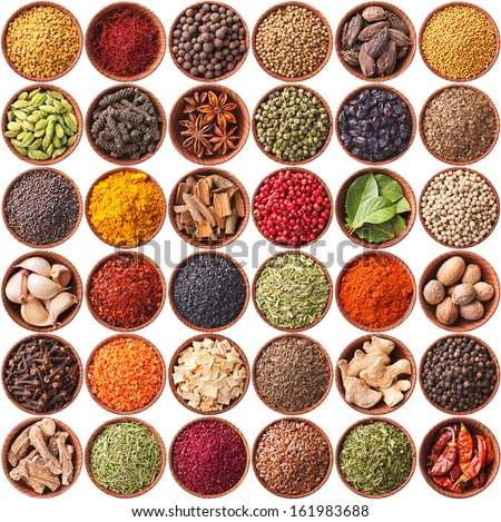 collection of different spices and herbs isolated on white background - stock photo