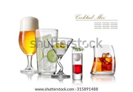 collection of different style of the glasses on white back - stock photo