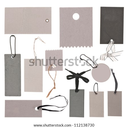 Collection of different tags or label isolated on white - stock photo
