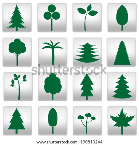 Collection of different trees icons. Raster illustration. - stock photo