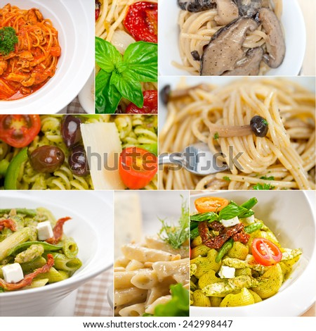 collection of different type of Italian pasta on collage white frame