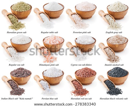 collection of different types of salt isolated on white background - stock photo